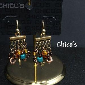 Chico's Malvina Beaded Earrings Seed Bead Boho NWT